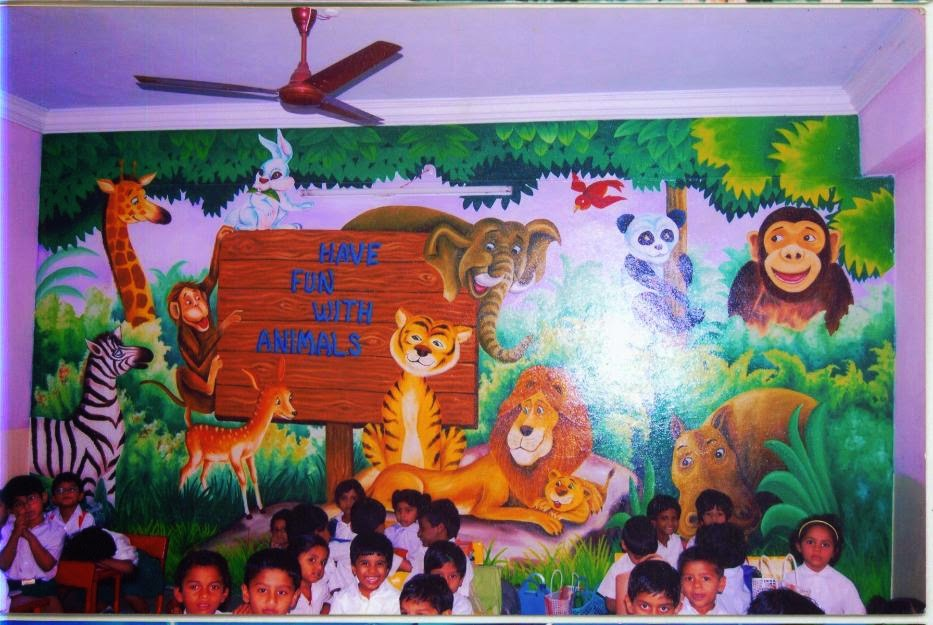 Play school wall painting schoo painting school wall for Creation mural kids