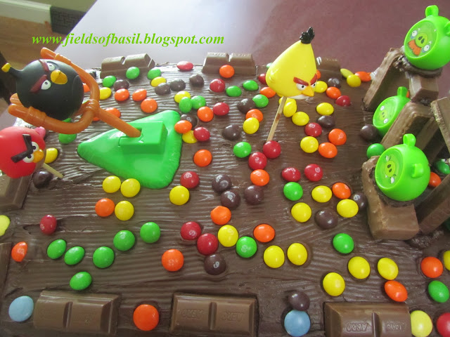 Fields of basil smores angry bird cake for Angry birds cake decoration kit