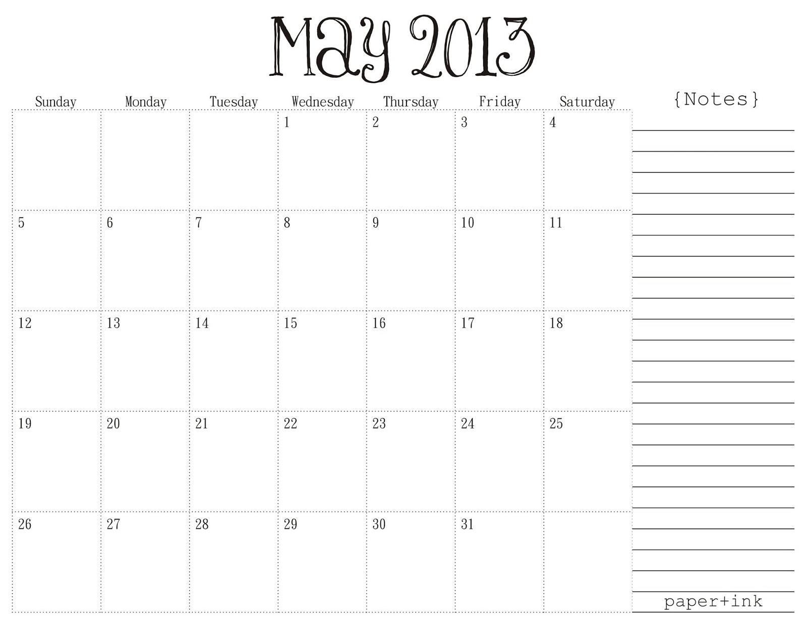 May 2013 Calendar Printable Free
