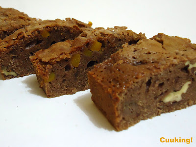 Brownie con nueces y calabaza