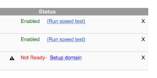 Google PageSpeed Service Dashboard Ausschnitt mit verwendeten Domainnamen