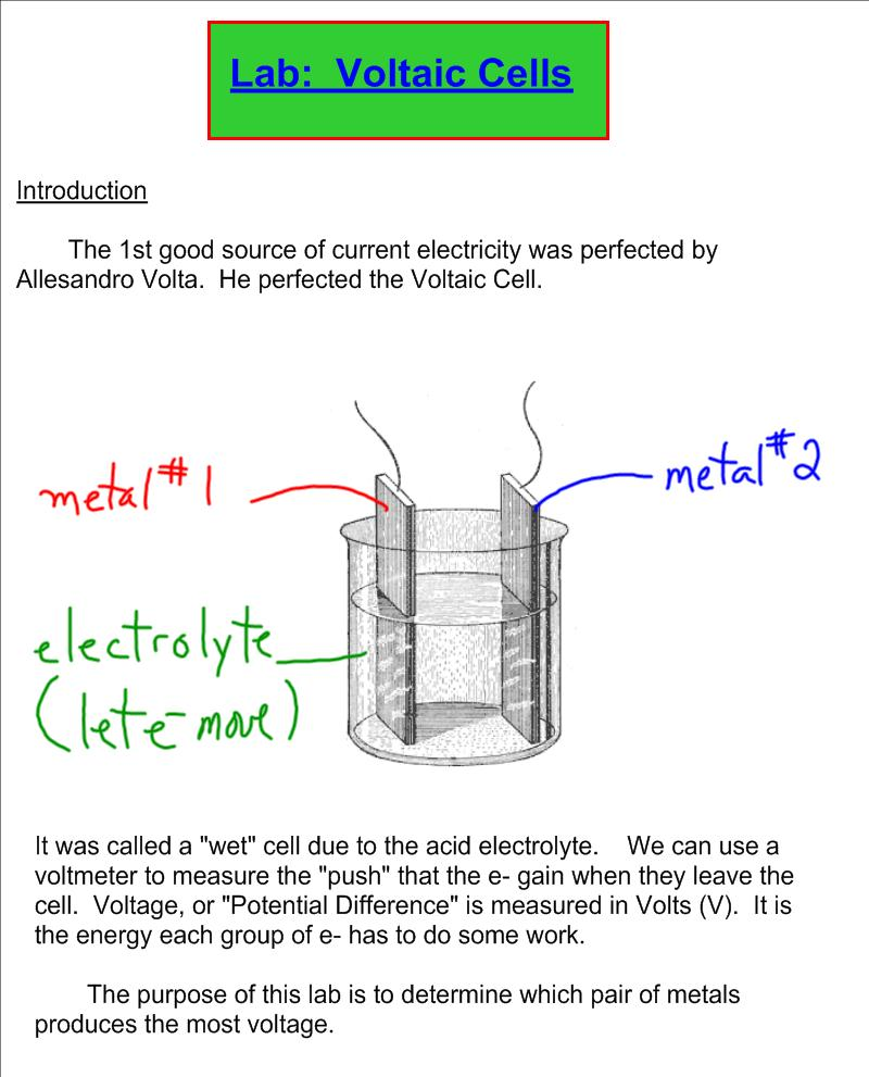 volcaic cell lab Learn how different types of electrochemical cells work galvanic cell reactions supply energy which is used to perform work.