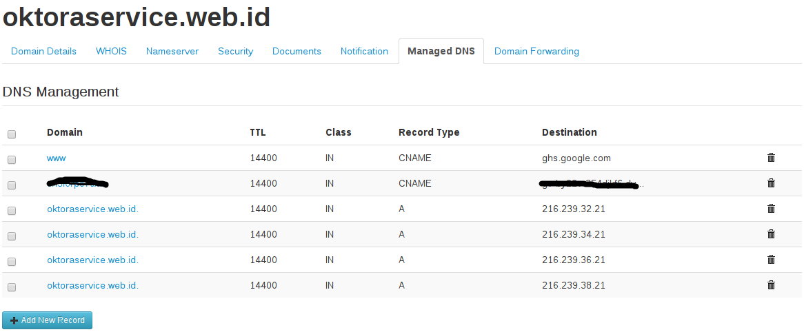 look management DNS listed