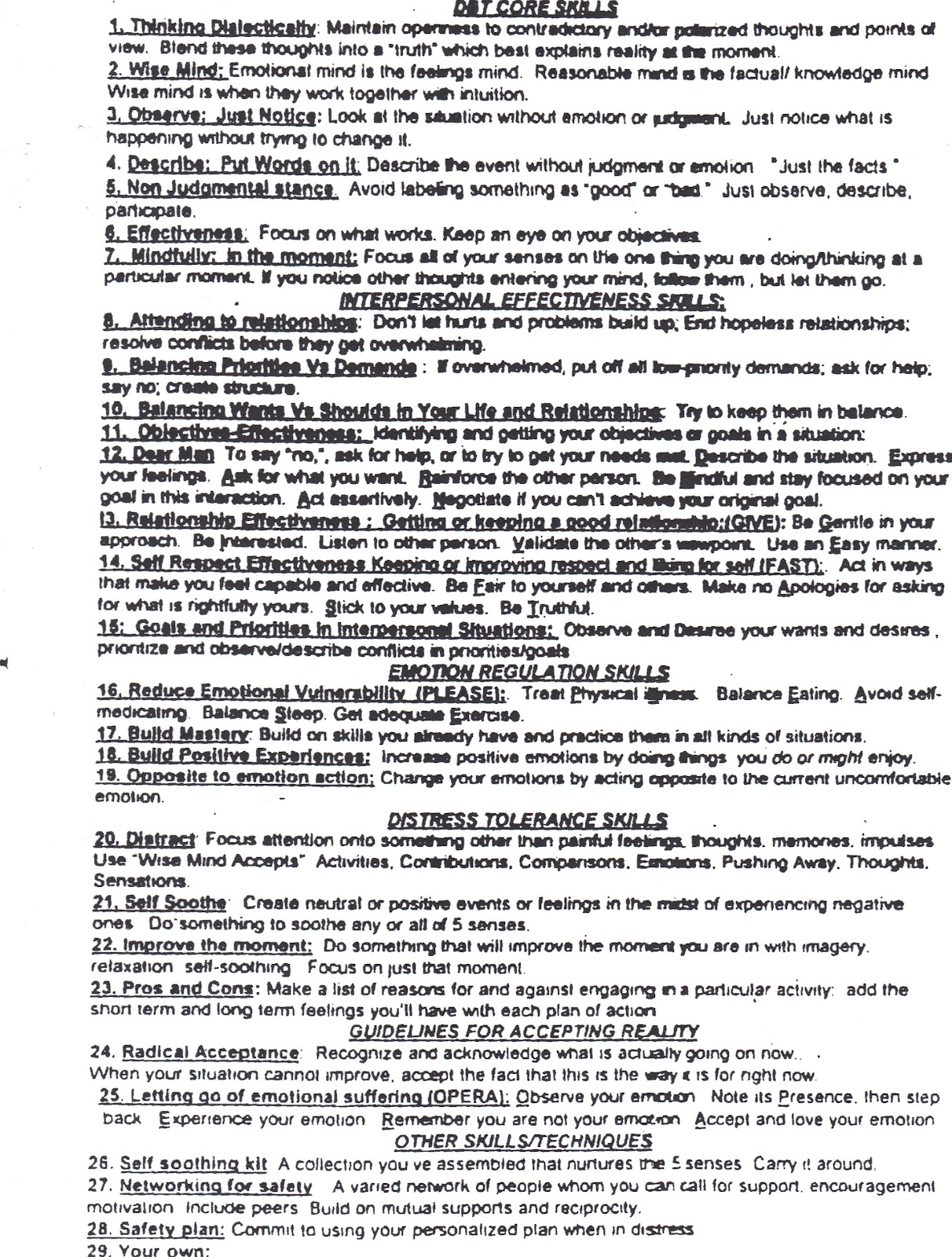 Healing From BPD Borderline Personality Disorder Blog 911 – Dialectical Behavioral Therapy Worksheets