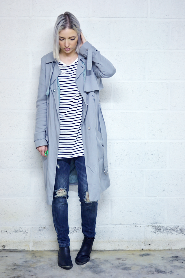Street style, outfit inspiration, trench coat, asos, zara dress, stripes, boyfriend jeans, primark, biker boots h&m