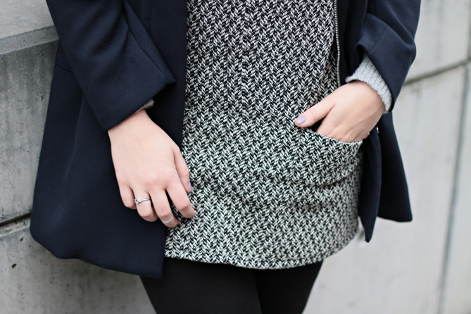 grey black pinafore dress