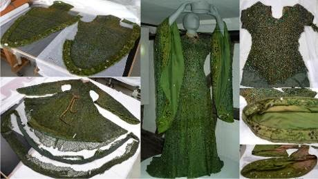Collection of colour photographs of a green gown in a medieval style; some show various pieces of the gown from various angles.