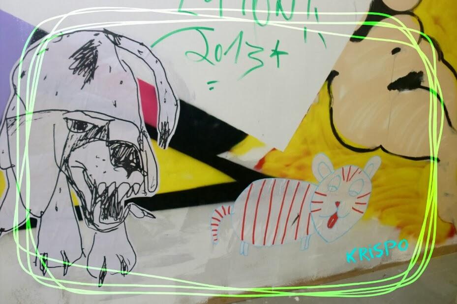 composicion de dibujos en mural