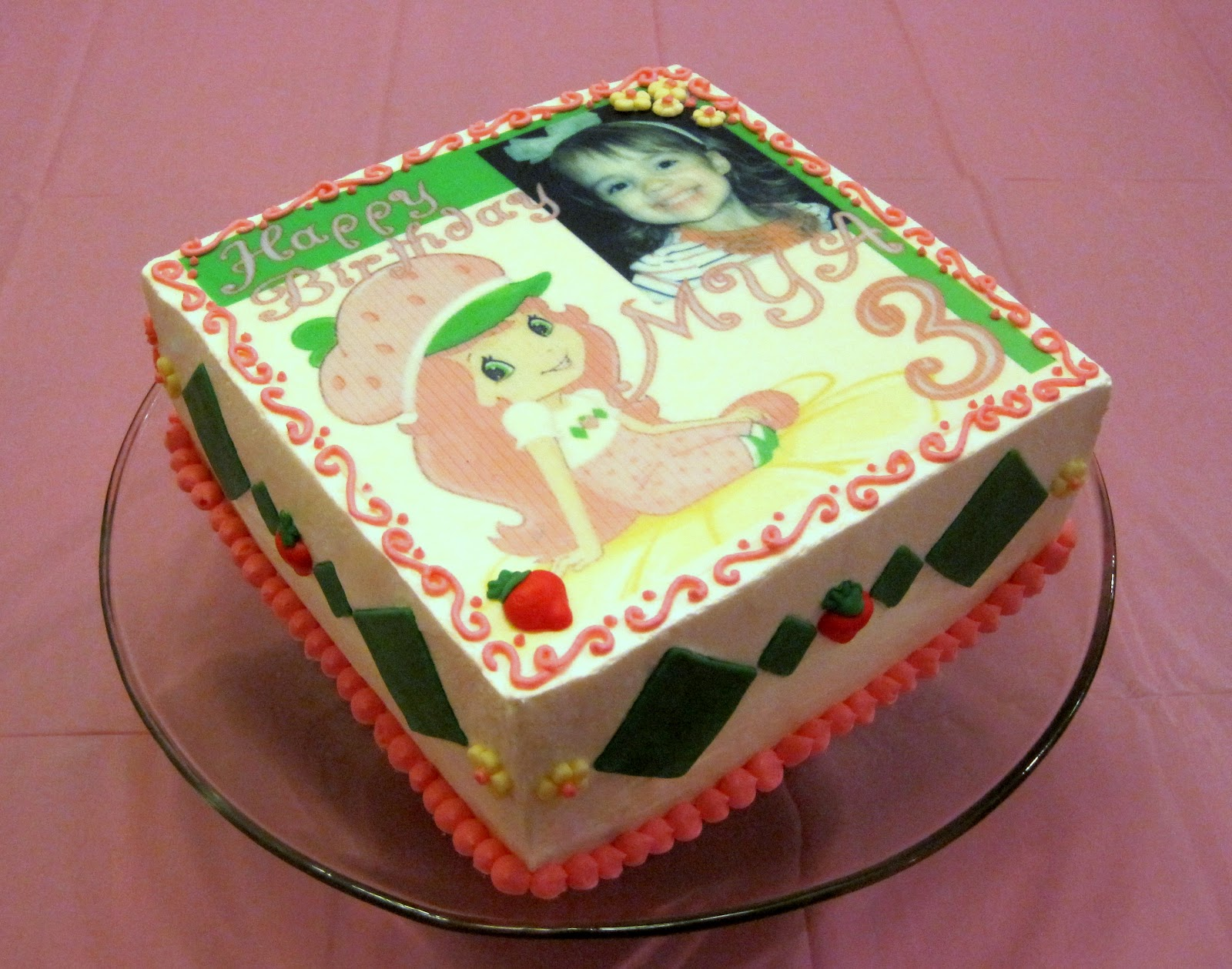 Custom Cake Images Edible : Custom Cakes By Stef: Strawberry Shortcake - edible pictures
