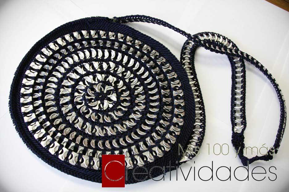 Como hacer una bolsa con anillas de lata: Bolso Redondo