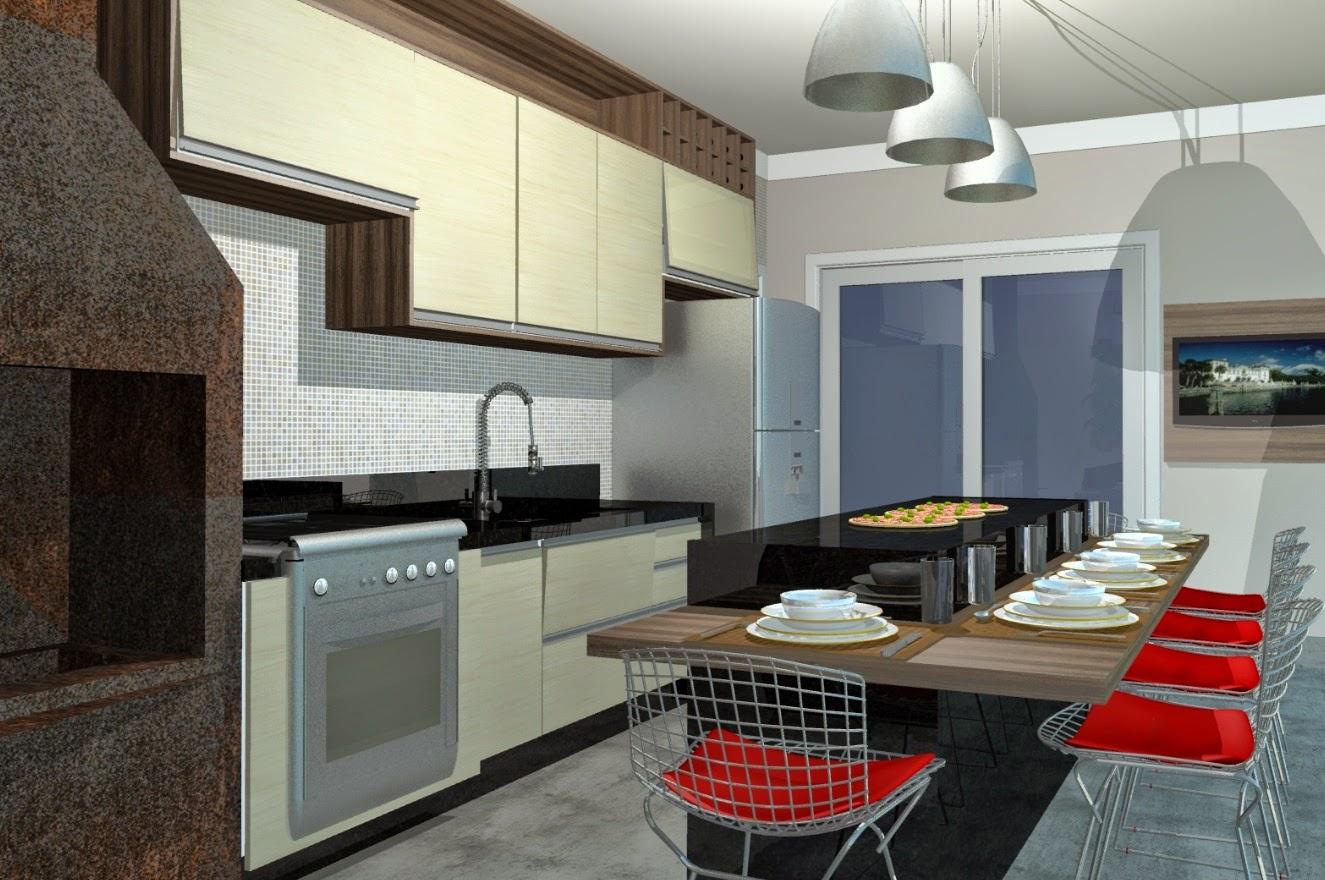 A varanda gourmet, detalhada pela equipe da Romanzza, atua como uma segunda cozinha completa da casa, em comunicação direta com a primeira.