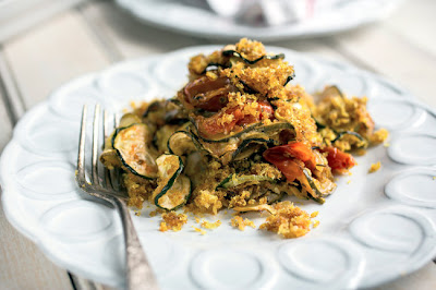 Zucchini tian with curried breadcrumbs. Photo by Andrew Scrivani for the New York Times