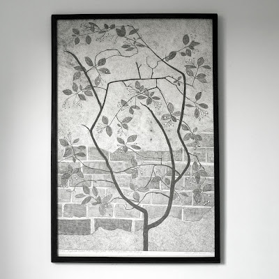large etching of berried sapling