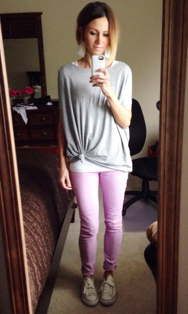 Knotted oversized tee and lilac skinnies