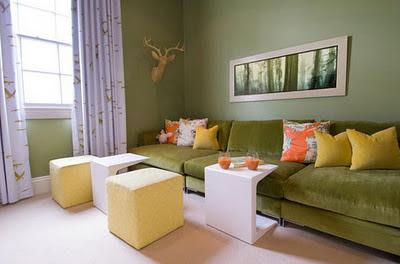 decoracion con verde y amarillo