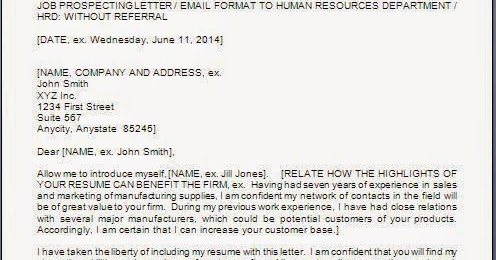 Job Application Letter To Hr