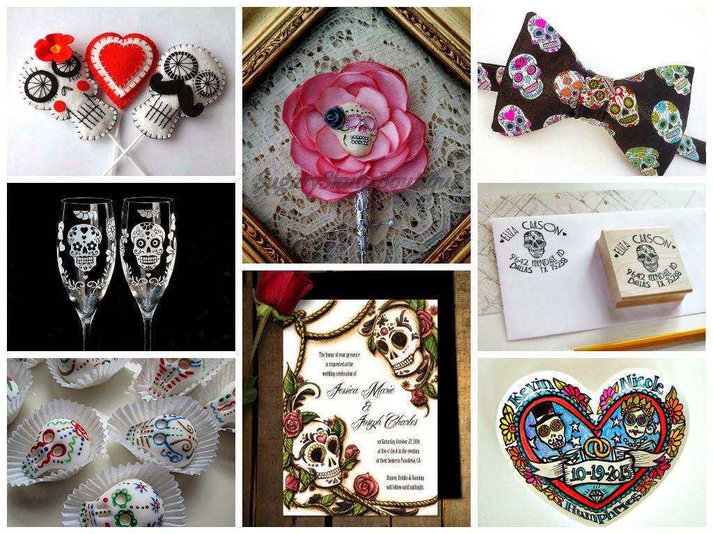 Day of the Dead Sugar Skulls Wedding Inspiration Board, curated by Sugarplum Garters