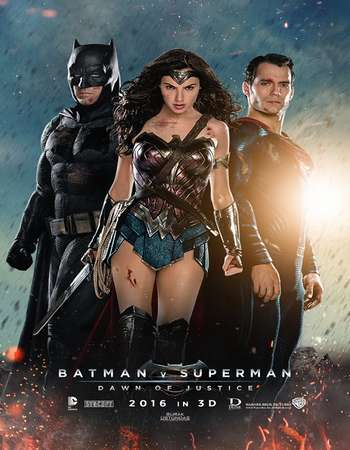 Poster Of Batman v Superman Dawn of Justice 2016 Dual Audio 720p  ORG [Hindi - English]  Free Download Watch Online Worldfree4u