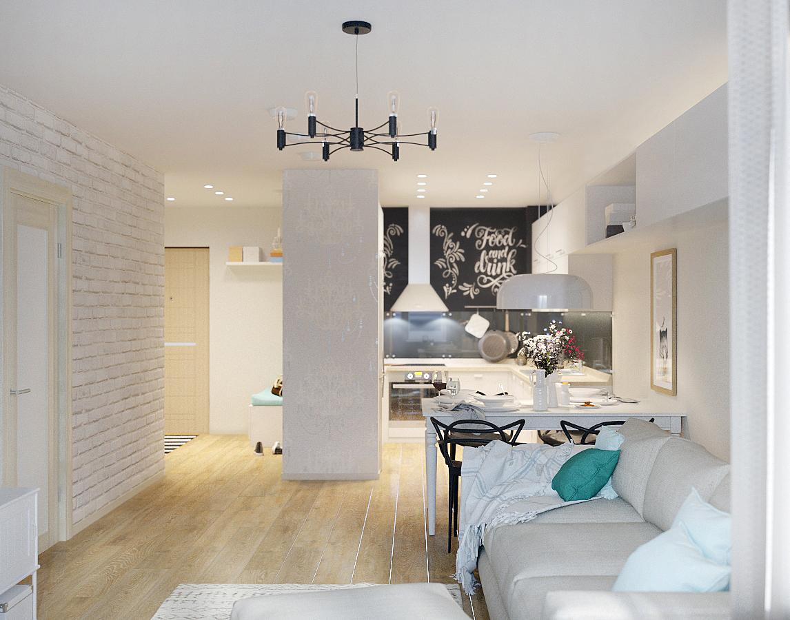 Интерьер двухкомнатной квартиры 54 м.кв. фото