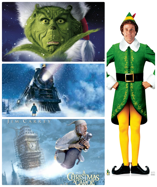 christmas films - the grinch, elf, the polar express, a christmas carol