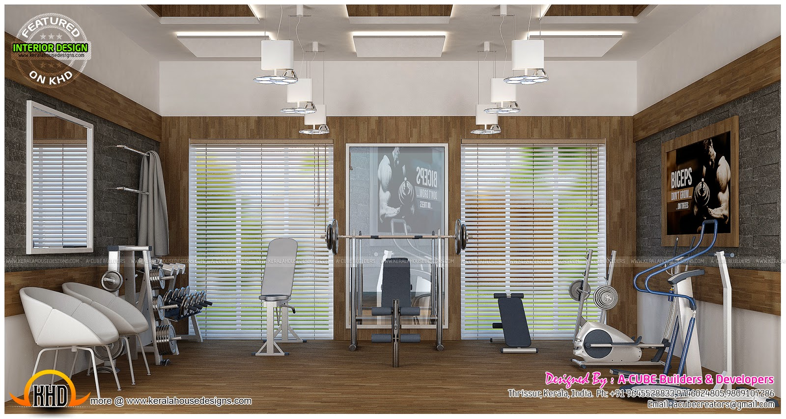 Pooja Living Home Gym And Office Interiors Kerala Home Design And Floor Plans