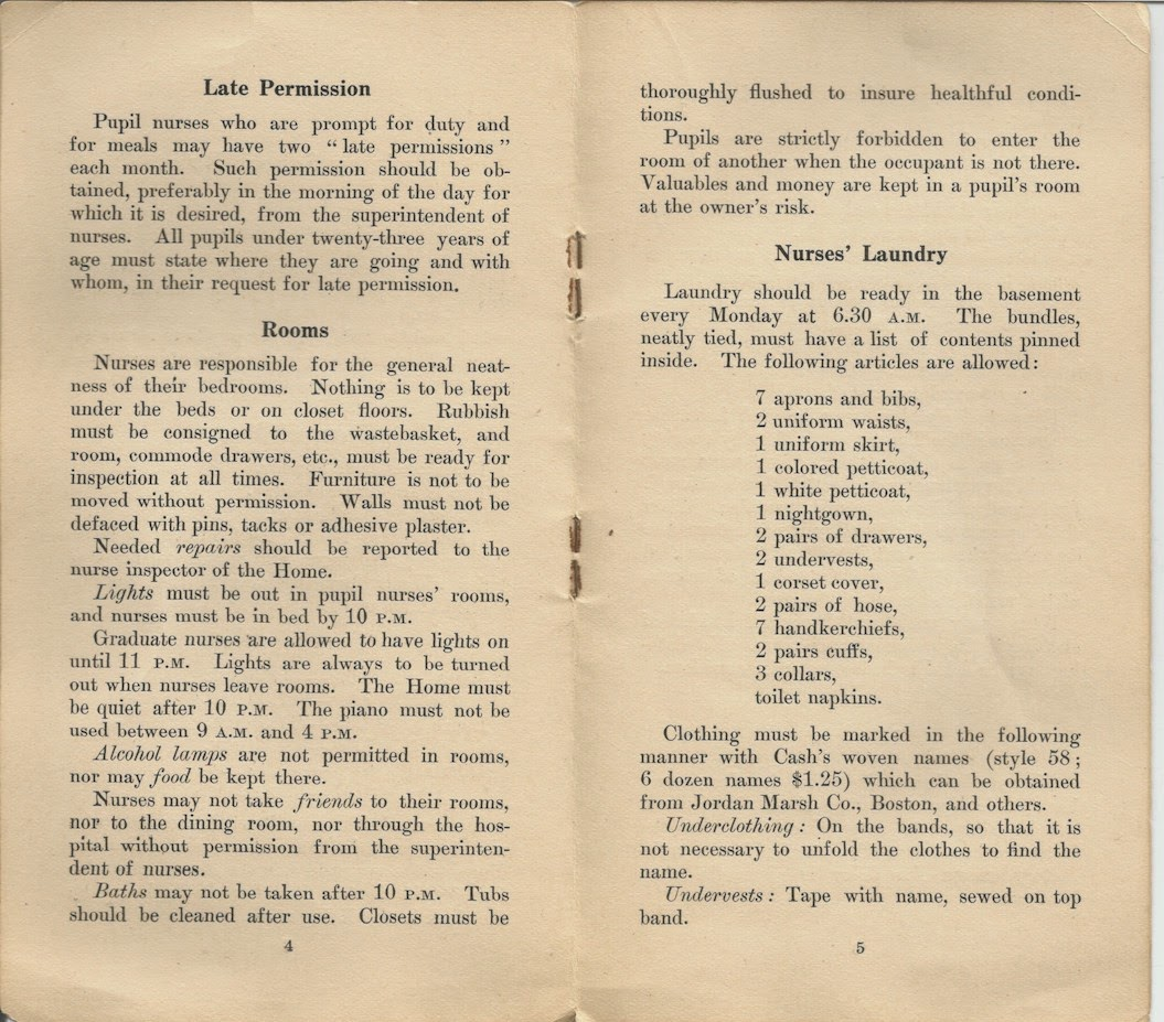 Nurse Training School Manual early 20th century - more rules