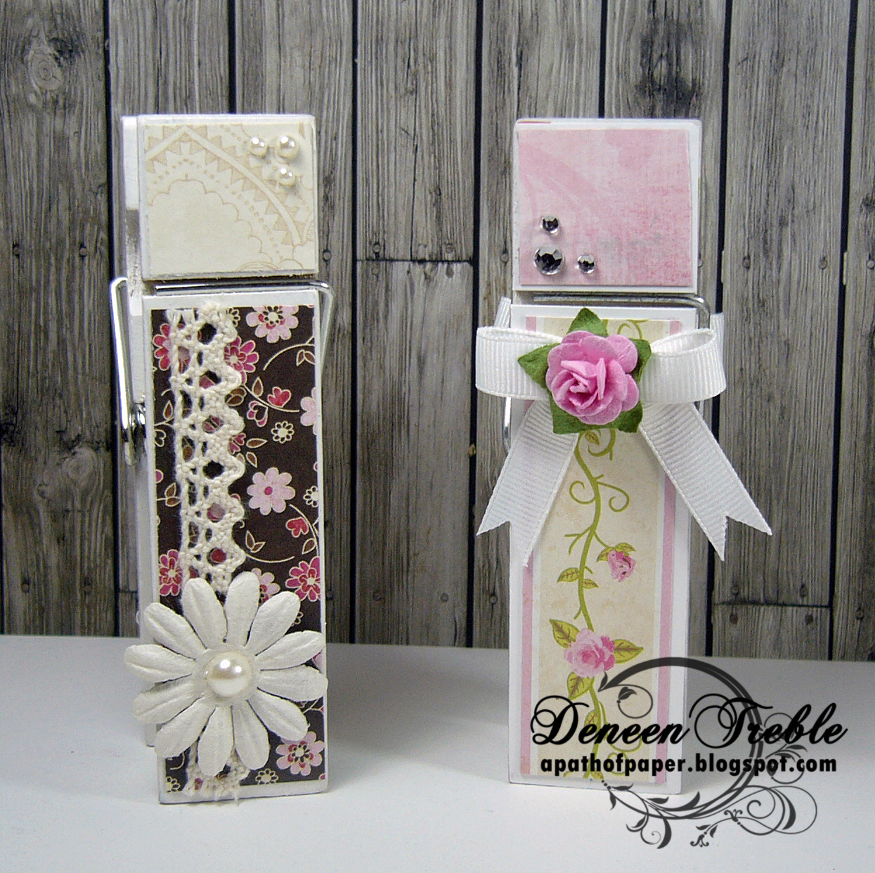 A path of paper craft show binder clips for Mini clothespin craft ideas