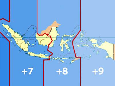 GAMBAR PERBEDAAN WAKTU & PEMBAGIAN ZONA WAKTU INDONESIA
