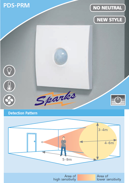 CP Electronics PDS-PRM Wall PIR Presence Detector, No Neutral