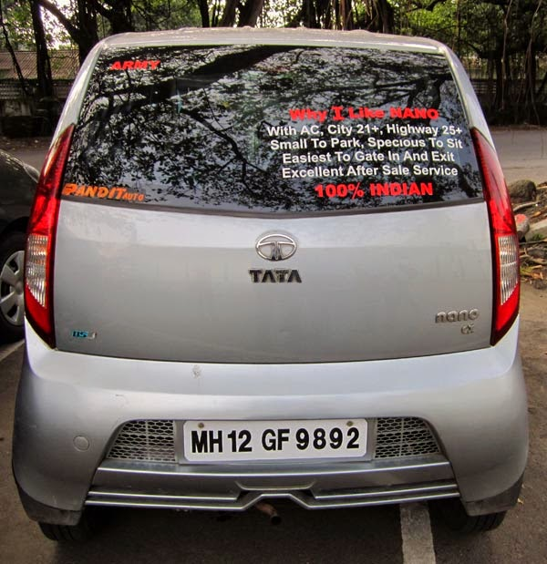 Writing on rear windscreen of a nano