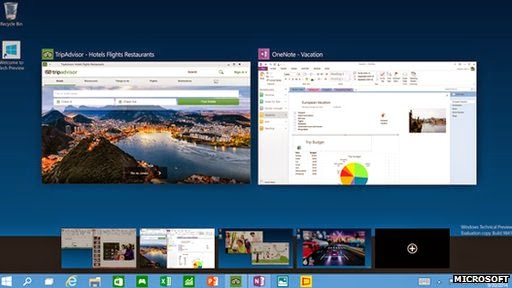 Microsoft Windows 10 OS with ability to switch between two or more desktop screens