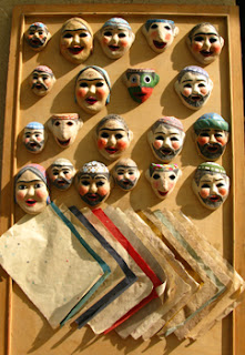Finished Uzbek masks of Samarkand hand made paper