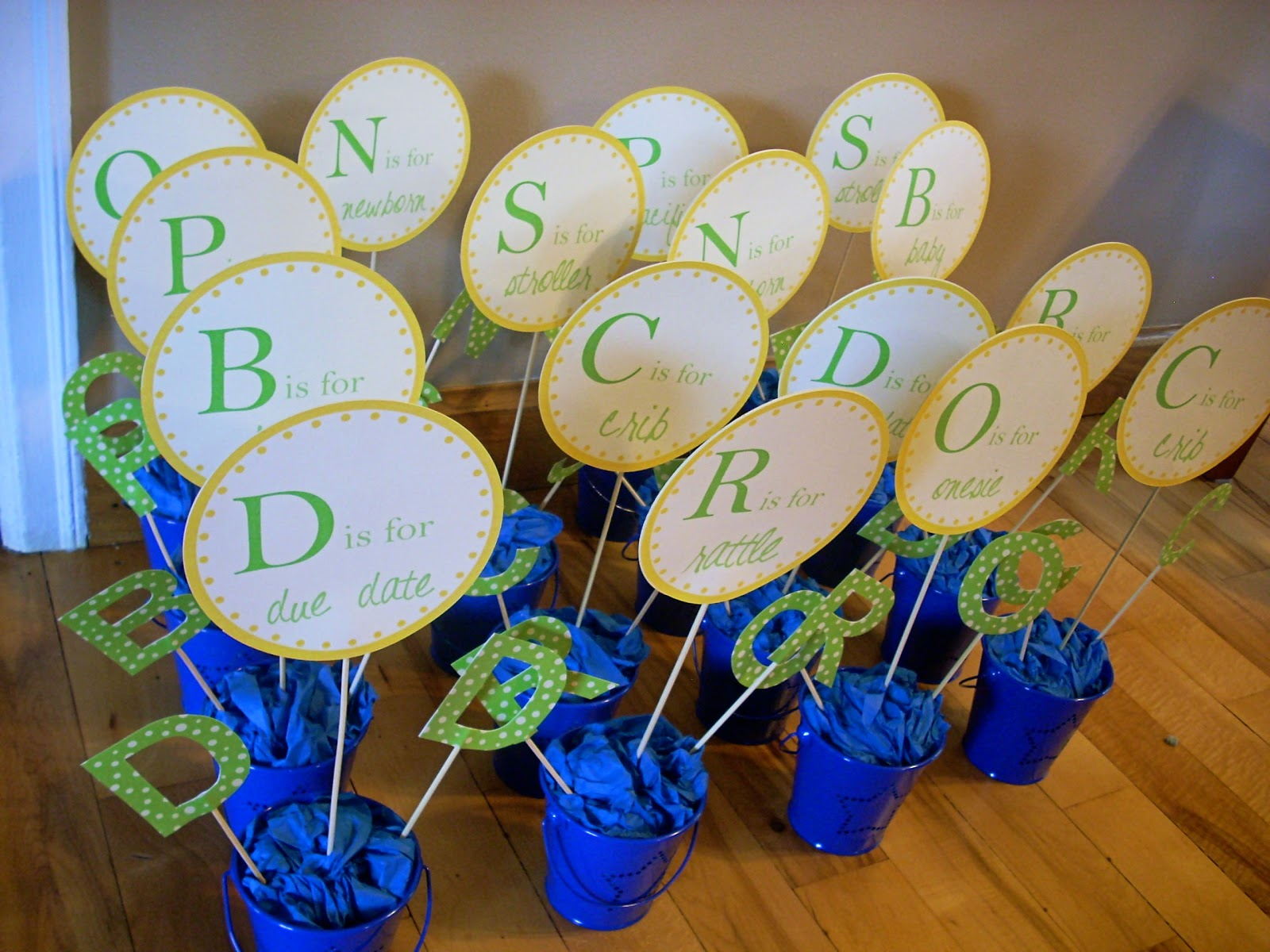 Alphabet Baby Shower: DIY Centerpieces |The Domestic Domicile
