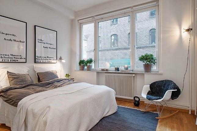 Habitación en blanco y gris