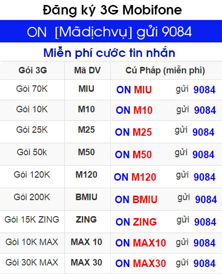 Cách hủy đăng ký 3G gói Miu của Mobifone