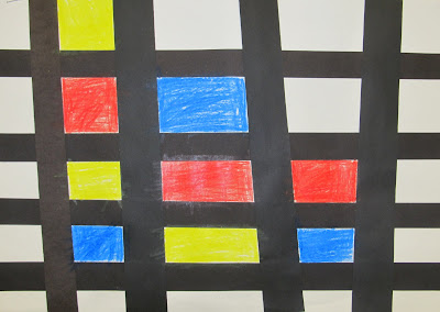 photo of: Mondrian in children's art, children's art from Master Artists, primary colors in Art