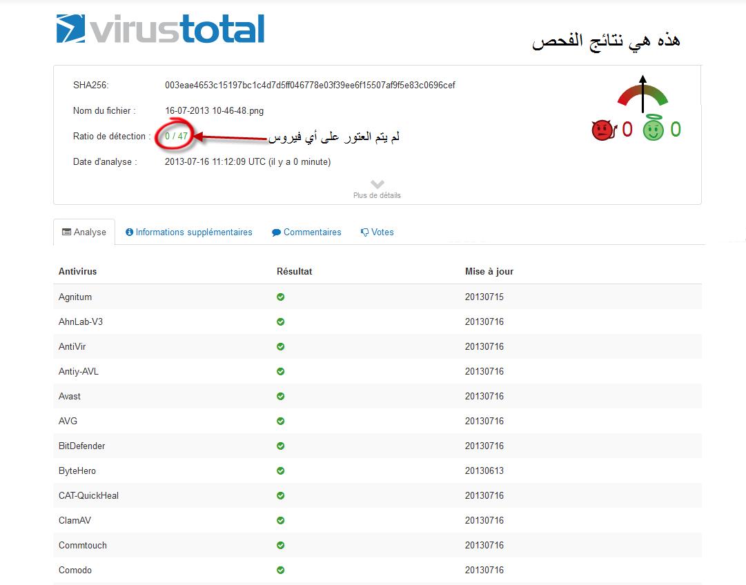 شرح طريقة فحص الروابط والملفات  في 42 Antivirus بواسطة VirusTotal