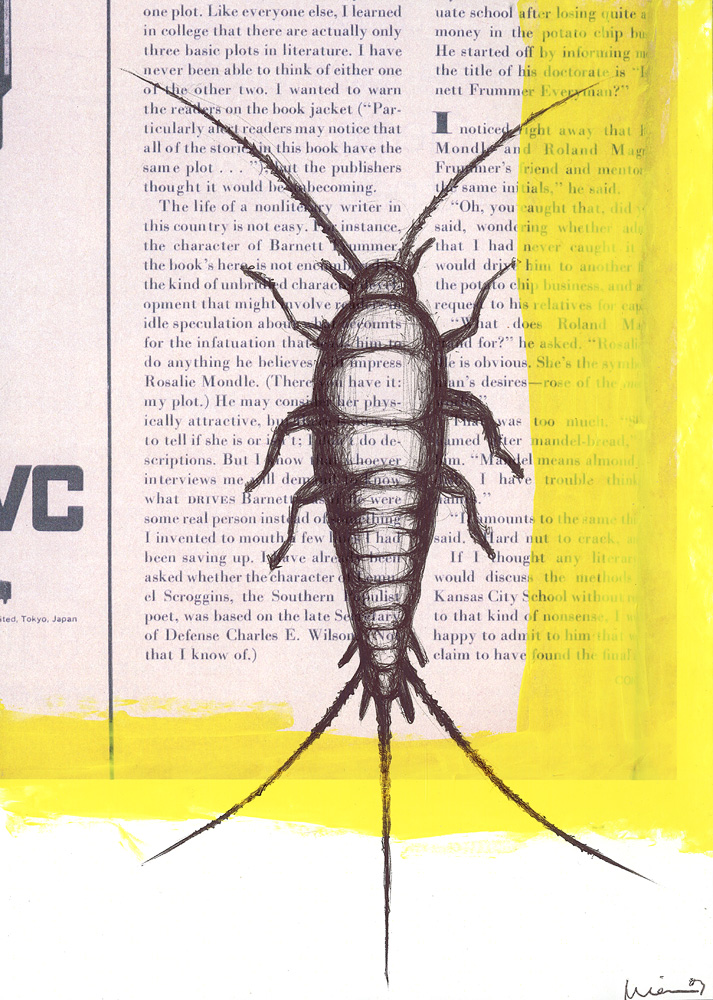 Silverfish, 2007. pen and acrylic on paper.