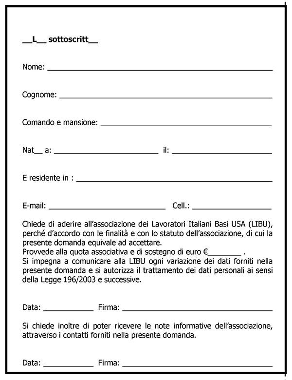 Modulo adesione LIBU