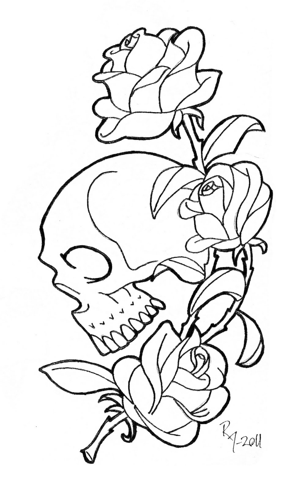 skull and rose coloring pages printable coloring pages roses - Coloring Pages Roses Skulls
