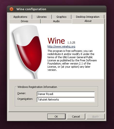 Wine 1.3.25 di Ubuntu 11.04