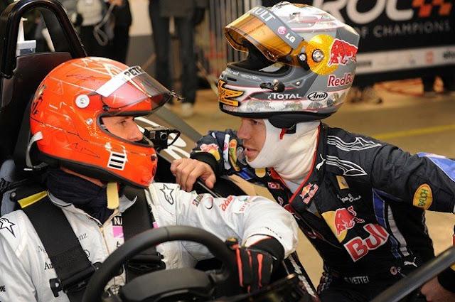 Michael Shumacher y Sebastian Vettel en Race of Champions 2011