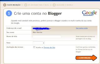 configurações no blogger