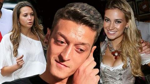 Oezil âm thầm quan hệ với Melanie Rickinger (phải) sau lưng cô bồ Mandy Capristo