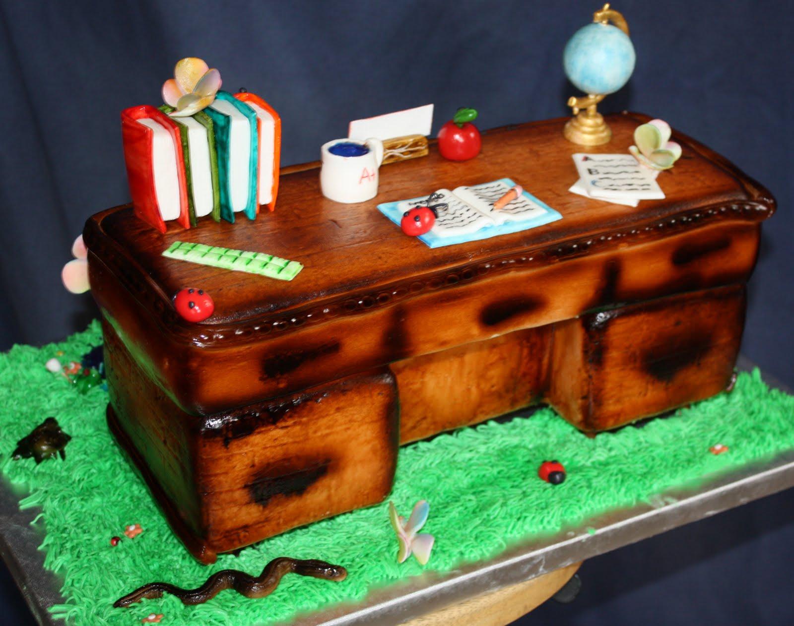The Cake Mama Teacher Retirement Desk cake