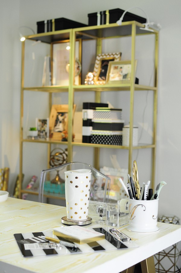 A DIY gold faux bois sawhorse desk is the centerpiece of Monica's home office makeover. Tons more pics + the tutorial is available at monicawantsit.com