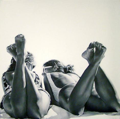 marta penter pintura realista mulheres pernas biquinis saias