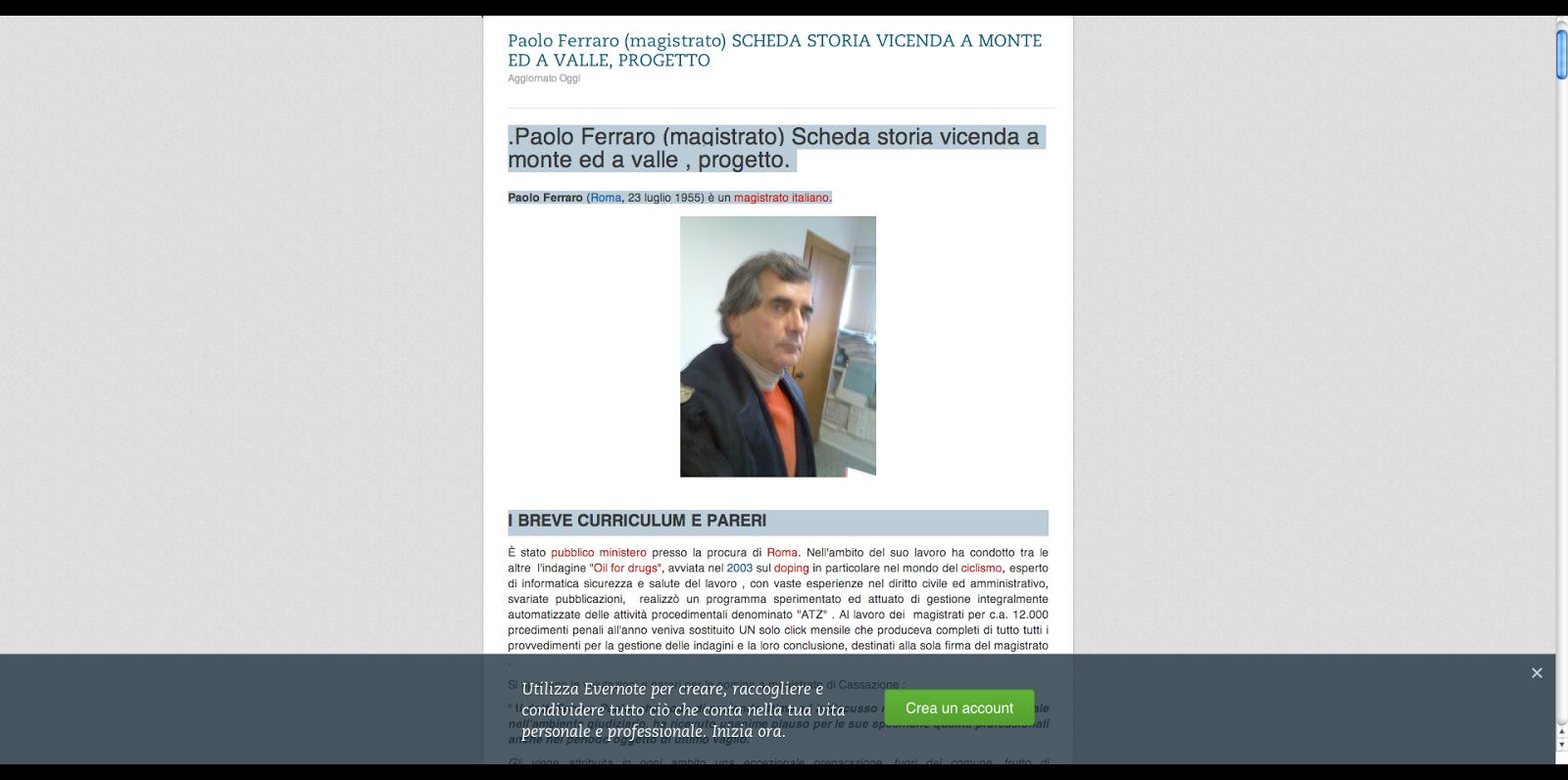 Paolo Ferraro (magistrato) SCHEDA  SU EVERNOTE