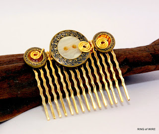 Gold Hair Comb with Vintage Buttons and Gold Accents by Ring of Wire on Etsy