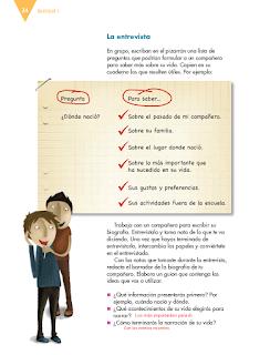 Respuestas Apoyo Primaria Español 6to Grado Bloque I lección 2 Escribir biografías y autobiografías para compartir